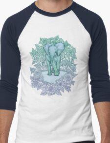 Emerald Elephant in the Lilac Evening Men's Baseball ¾ T-Shirt