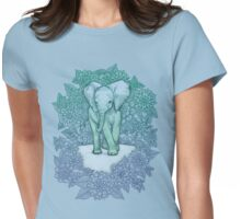Emerald Elephant in the Lilac Evening Womens Fitted T-Shirt