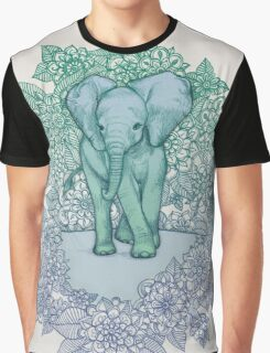 Emerald Elephant in the Lilac Evening Graphic T-Shirt