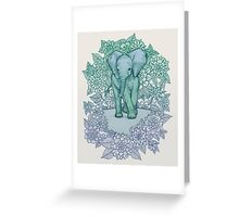 Emerald Elephant in the Lilac Evening Greeting Card