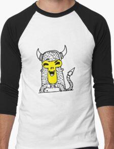 Urban monkey in viking helmet Men's Baseball ¾ T-Shirt