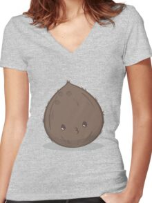 Cute Tropical Fruits - Coconut Women's Fitted V-Neck T-Shirt