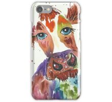 Quirky colourful cow and bumble bee iPhone Case/Skin