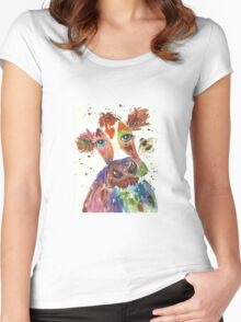 Quirky colourful cow and bumble bee Women's Fitted Scoop T-Shirt