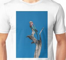 Lilac-breasted roller perched on dead tree stump Unisex T-Shirt