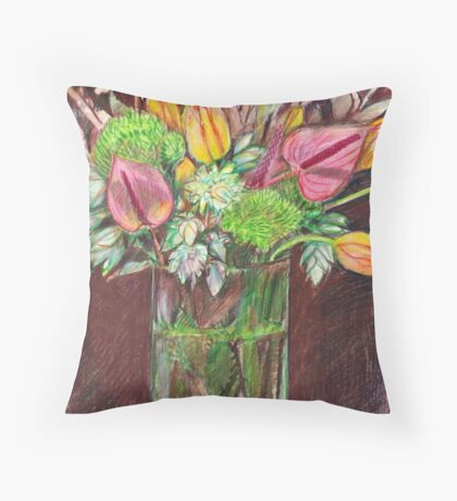 Still life - tulips, green dianthus, anthuriums and blushing bride Throw Pillow