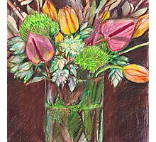 Still life - tulips, green dianthus, anthuriums and blushing bride Photographic Print