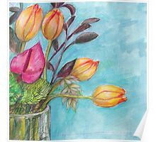 Still life - with tulips Poster