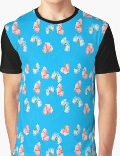 Pink Blue Roses Graphic T-Shirt