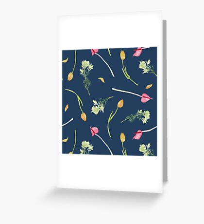 Tulip pattern - french navy background Greeting Card