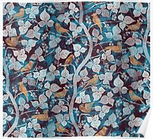 Birds in Blue Poster