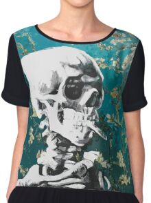 Skull with burning cigarette on cherry blossom Chiffon Top