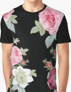 Pink and Black Botanical Floral Graphic T-Shirt