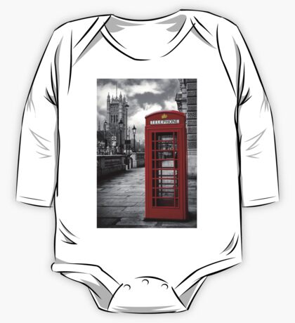 London: Red Phone Booth One Piece - Long Sleeve