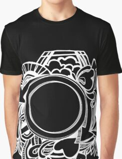 White Camera Doodle Graphic on Black Graphic T-Shirt