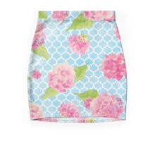 Blue and Pink Trellis Floral Mini Skirt