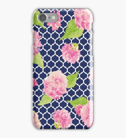 Navy and Pink Trellis Floral iPhone Case/Skin