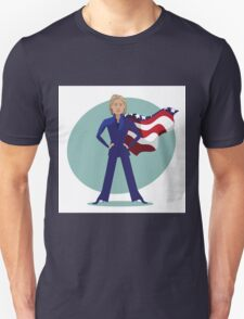 cartoon of Hillary Clinton as a super hero. Unisex T-Shirt