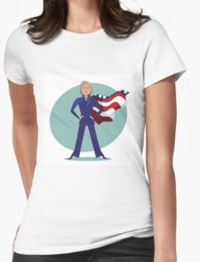 cartoon of Hillary Clinton as a super hero. Womens Fitted T-Shirt