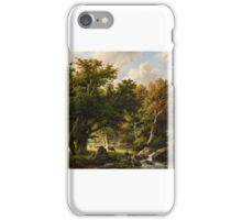 Barend Cornelis Koekkoek, Landscape with Trees and Cows by a Stream,  iPhone Case/Skin