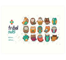 Tribal owls Art Print