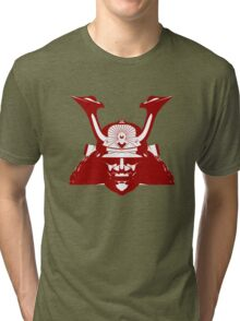 Kabuto graphic in red and white Tri-blend T-Shirt