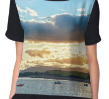 quiet bay with island near kenmare at sunset Chiffon Top