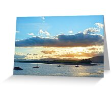 quiet bay with island near kenmare at sunset Greeting Card