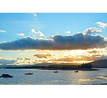 quiet bay with island near kenmare at sunset Photographic Print