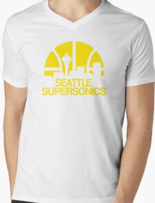 SEATTLE SUPERSONICS BASKETBALL RETRO Mens V-Neck T-Shirt