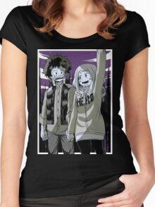 My Hero Academia - Izuku Midoriya and Uraraka Ochako Women's Fitted Scoop T-Shirt