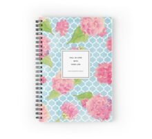 Fall In Love With Your Life Floral Quotation Print Spiral Notebook