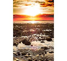 red reflections at rocky beal beach Photographic Print