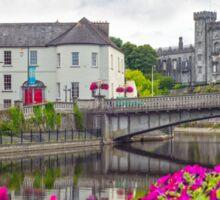 riverside view of kilkenny castle town and bridge Sticker