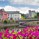 riverside view of kilkenny castle town and bridge by morrbyte