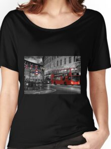 London: Red Double-Decker Women's Relaxed Fit T-Shirt