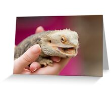 bearded dragon in the hand Greeting Card