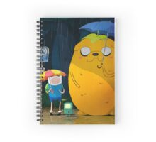 finn totoro on the rain Spiral Notebook