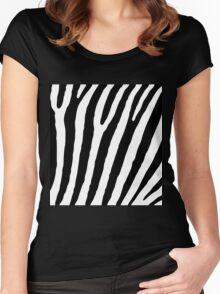 Zebra Stripes Skin Print Pattern Women's Fitted Scoop T-Shirt