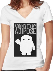 Adding to My Adipose Doctor Who Women's Fitted V-Neck T-Shirt