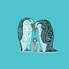 Swirly Penguin Family by _ VectorInk
