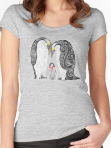 Swirly Penguin Family Women's Fitted Scoop T-Shirt
