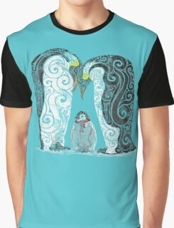 Swirly Penguin Family Graphic T-Shirt