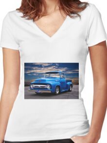 1956 Ford F100 Pickup Women's Fitted V-Neck T-Shirt