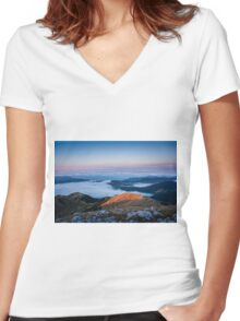 Lake clouds Women's Fitted V-Neck T-Shirt