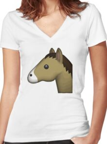 Horse Face Emoji Women's Fitted V-Neck T-Shirt