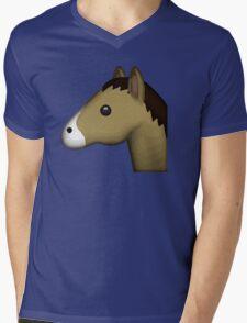 Horse Face Emoji Mens V-Neck T-Shirt
