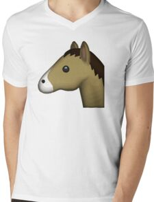 Horse Face Emoji Mens V-Neck T-Shirt