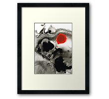 Clarity - Black And White Art Red Painting Framed Print