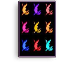 """DANCING CROCODILES"" Colorful Art Deco Print Canvas Print"